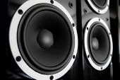 stock photo of double-bass  - Pair of black glossy audio speakers isolated on black background - JPG