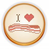 I Love Bacon Cross Stitch Embroidery