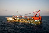 foto of big-rig  - Gas platform or rig platform in sunset or sunrise time - JPG