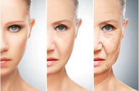 picture of wrinkled face  - concept of aging and skin care - JPG