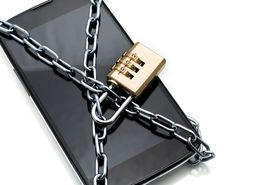 pic of combinations  - Modern smartphone with combination lock padlock - JPG