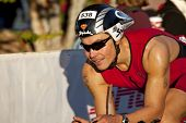 Competitor Racing In Arizona Ironman   Triathlon