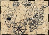 stock photo of buccaneer  - old nautical map - JPG