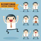 pic of feelings emotions  - Set of businessman characters poses - JPG