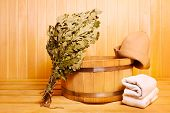 pic of sauna  - various sauna accessories in a wooden sauna - JPG