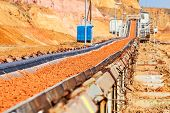 picture of machinery  - open coal mining pit with heavy machinery