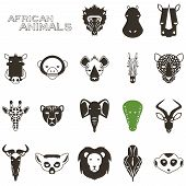 stock photo of african animals  - African Animal Icons Portrait Set with Flat Design - JPG