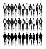 stock photo of diversity  - Silhouettes of Diverse People in a Row - JPG