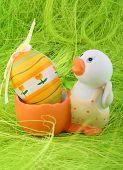 image of duck egg blue  - Easter Egg with duck as holder - JPG