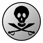 picture of saber-toothed  - Jolly Roger sign button on white background - JPG