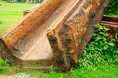 picture of trough  - A rusty trough used to pour molten steel outside at Red Town Shanghai China - JPG