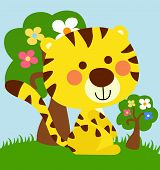 picture of cute tiger  - Vector illustration of a cute tiger sitting - JPG