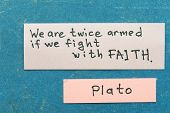 pic of interpreter  - famous ancient Greek philosopher Plato quote interpretation with sticky notes on vintage carton board about Faith - JPG