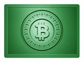foto of bronze silver gold platinum  - Green metallic plate with bitcoin logo stamp on it and clippingpath for white background removal - JPG