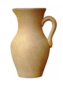 pic of loamy  - Old brown ceramic jug isolated on white background - JPG