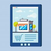 image of internet shop  - Flat design vector concept with shop illustration of buying products via on line shop store e - JPG