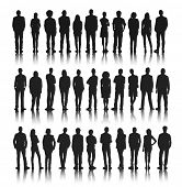 picture of fine art portrait  - Silhouettes Group of People in a Row Vector - JPG