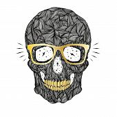 foto of gold tooth  - vector funny candy black skull with golden glasses and golden teeth on white background - JPG
