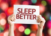 picture of sleeping  - Sleep Better card with colorful background with defocused lights - JPG