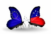 pic of samoa  - Two butterflies with flags on wings as symbol of relations EU and Samoa - JPG