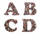 picture of letter d  - Letter set made of mixed peppercorns  - JPG