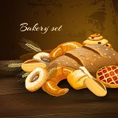 pic of donut  - Bakery bread poster with wheat pastry pie donuts and wheat ears on wooden table vector illustration - JPG