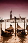 Постер, плакат: View Of Gondolas In Front Of San Giorgio Maggiore