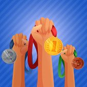 stock photo of prize winner  - Winners hands holding winner victory golden silver and bronze  medals background vector illustration - JPG