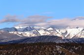 foto of blanket snow  - A snow blanket cover the La Plata Mountains in Durango, CO