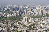 foto of smog  - Aerial view of the Santiago city with the blue smog from the San Cristobal Hill - JPG