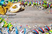 picture of party hats  - Colorful carnival background with garlands - JPG