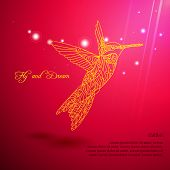foto of colibri  - Gold lace colibri flying for dream with sun lights - JPG