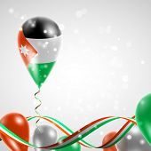 stock photo of balloon  - Flag of Jordan on a balloon with ribbon in the colors of the flag twisted under the balloon - JPG