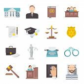 picture of jury  - Law and judgment legal justice icon flat set isolated vector illustration - JPG
