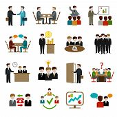 foto of internet icon  - Meeting icons set with business teamwork corporate training and presentation symbols isolated vector illustration - JPG