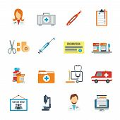 stock photo of thermometer  - Doctor first aid icon flat set with pills thermometer syringe isolated vector illustration - JPG