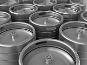stock photo of keg  - 3d render of group of beer kegs - JPG