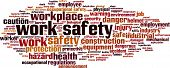 picture of safety barrier  - Work safety word cloud concept - JPG
