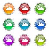 stock photo of barometer  - cloud icons set waether forecast sign  - JPG
