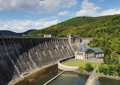 stock photo of hydro-electric  - Dam of the Edersee with hydro electric power plant and castle waldeck - JPG