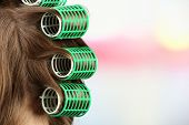 pic of hair curlers  - Long female hair during hair dressing with curler - JPG