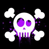 image of skull cross bones  - vector skull with crossed bones on black background - JPG