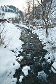 picture of winter season  - View of frozen river countryside - JPG