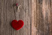 pic of soulmate  - Love heart hanging on wooden texture background - JPG