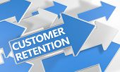 picture of enticing  - Customer Retention 3d render concept with blue and white arrows flying over a white background - JPG