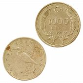 pic of turkish lira  - Turkish Coins isolated on the white background - JPG