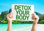 stock photo of cleanse  - Detox Your Body card with a beach on background - JPG