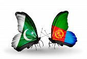 picture of eritrea  - Two butterflies with flags on wings as symbol of relations Pakistan and Eritrea - JPG