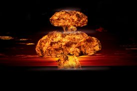 picture of dangerous  - Nuclear explosion in an outdoor setting - JPG