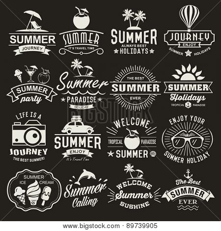Summer logotypes set. Summer typography outlines. Vintage outline components, logos, marks, symbols,